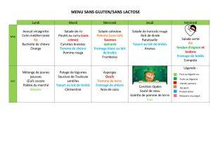 menu semaine 11 sans gluten / lactose