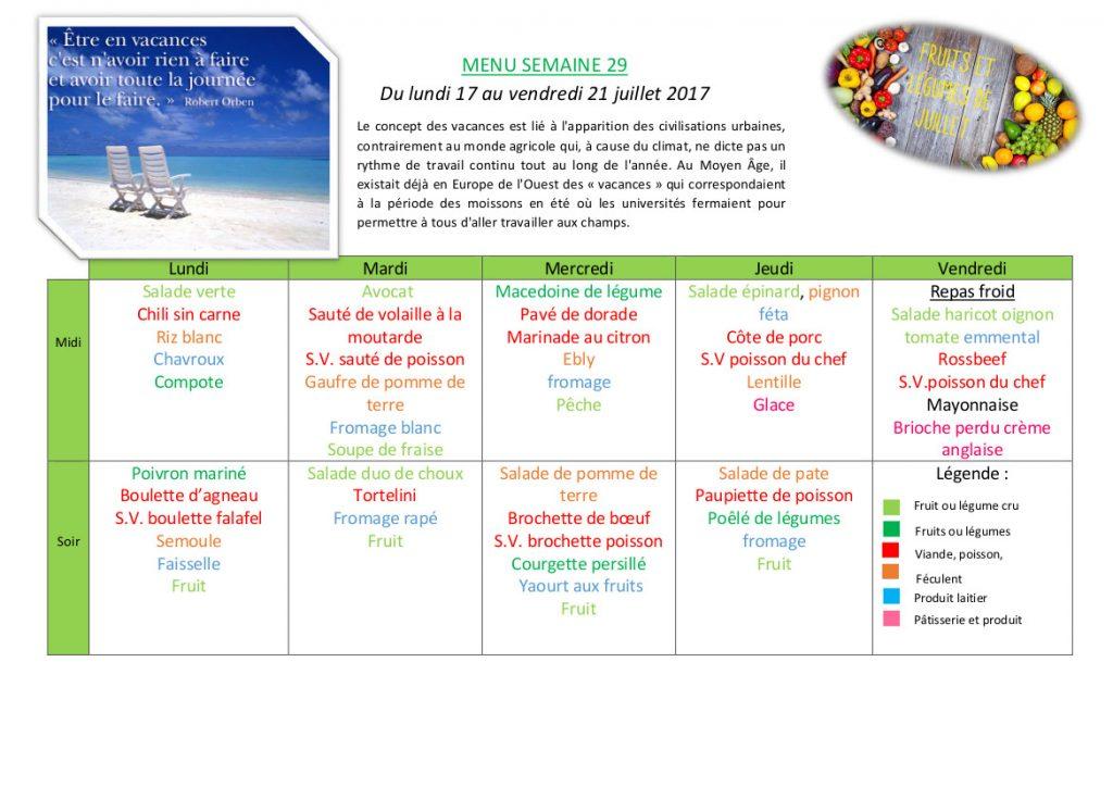 Semaine du 17 au 21 juillet
